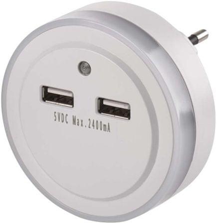 Emos LED nočno svetilo P3313 z vtičnico 2 × USB