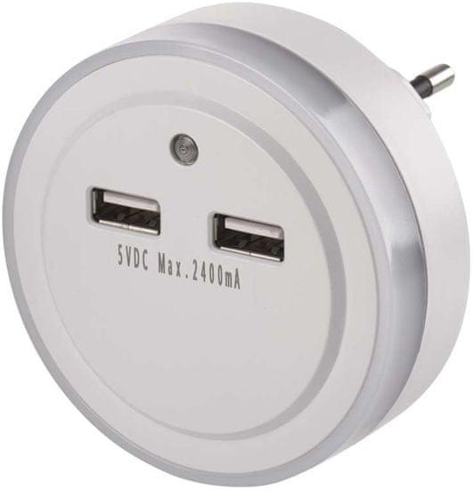 Emos LED noční světlo P3313 do zásuvky 2 × USB