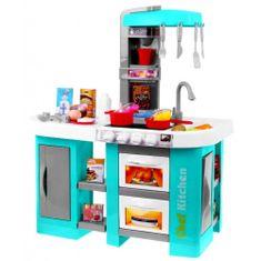 iMex Toys Velká dětská kuchyňka s tekoucí vodou a lednicí tyrkysová