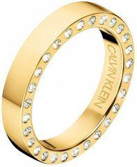 Calvin Klein Luksuzen pozlačen prstan s kristali HookKJ06JR1401