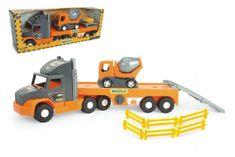 Wader Auto nákladní Super Tech Truck návěs 78cm + auto domíchávač 24cm plast Wader v krabici 78x28x20cm