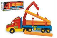 Wader Auto Super Truck stavební návěs s rukou a rourami Wader 76cm asst 2 barvy v krabici