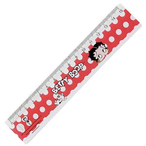 Betty Boop Pravítko 15cm , červené s motivem panenky