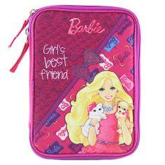 Barbie Školní penál s náplní Target, s pejskem a kočičkou, barva růžová