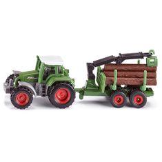 SIKU Traktor , Malý model traktoru Fendt s přívěsem na klády. Přívěs je vyb
