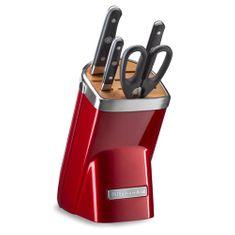 KitchenAid Sada nožů s blokem , 5 dílná, 3 ks nožů + nůžky, červená metalíza