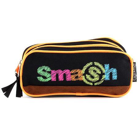 Smash Šolska škatla za svinčnike brez polnila, 2 žepa, črna / neon oranžna