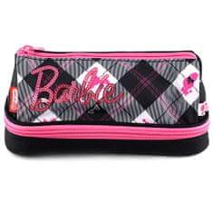 Barbie Školní penál bez náplně , růžovo/černý s trojúhelníkovým motivem, spodní kapsa