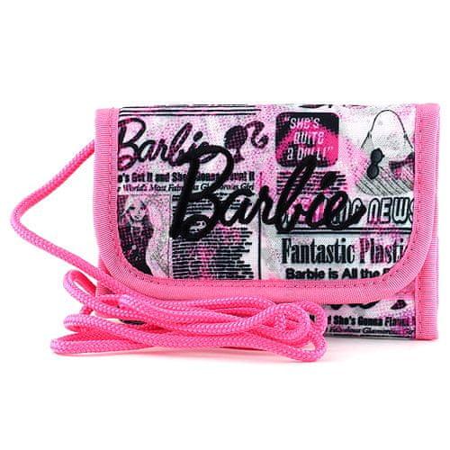 Barbie Peňaženka s pútkom , ružová, popísaná, s čiernym nápisom