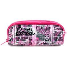 Barbie Školní penál bez náplně , růžový, popsaný, s černým nápisem