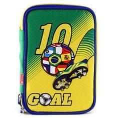 Goal Iskolai tolltartó töltettel Goal, egyemeletes, zöld/sárga