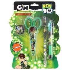 Ben 10 Zestaw szkolny , 4-częściowy, 1x gumka, 1x nożyczki, 1x ołówek, 1x długopis 4 kolory s