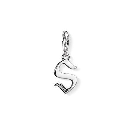 "Thomas Sabo Přívěsek ""Písmeno S"" , 1599-643-21, Charm Club, 925 Sterling silver, blackened, zirconia white"