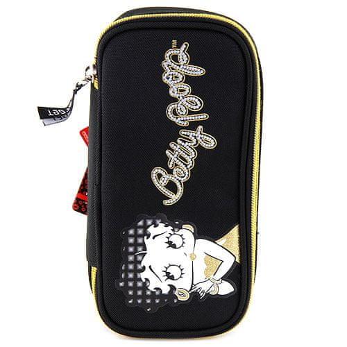 Betty Boop Školní penál , elipsovitý, černo-zlatý