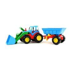 Bino Buldozer s přívěsem , Barevný buldozer s přívěsem modro-červený