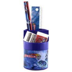 Stojan s náplňou Beyblade, 5-dielny, kombinovaný, modrý s motívom Beyblade