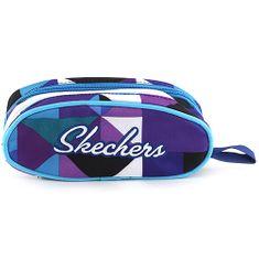 Skechers Školský peračník bez náplne Skechers, fialovo/modrý s trojuholníkovým motívom a bielym nápisom Skec