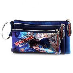 Monsuno Školní penál trojitý , 3 kapsy, tmavě modrý, s motivem chlapce