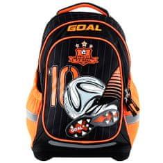 Goal Cél iskolai hátizsák, 3D cél, fekete-narancs színű