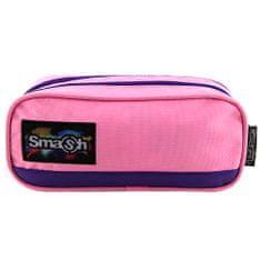 Smash Školní penál bez náplně , růžový s fialovým lemováním