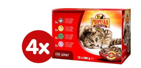 Propesko hrana za odrasle mačke, piščanec, govedina, divjačina in jagnjetina, 4 x (12 x 100 g)