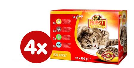 Propesko hrana za odralse mačke, piščanec, govedina, zajec in losos, 4 x (12 x 100 g)