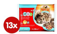 Propesko hrana za odrasle mačke, pičšanec, losos, kozice, govedina in zelenjava, 13 x (4 x 100g)
