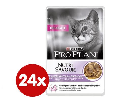 Purina Pro Plan Cat Delicate Pulyka Macskaeledel, 24 x 85 g