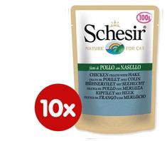 Schesir mokra hrana za mačke s piletinom i oslićem, 10 x 100 g