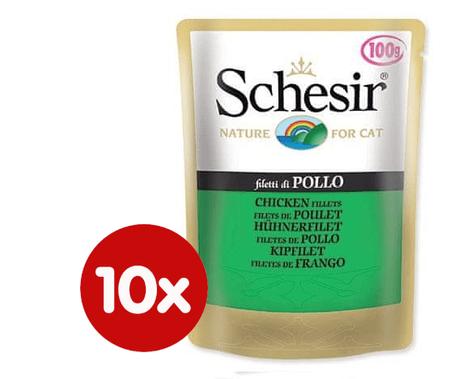 Schesir mokra hrana za mačke s piščancem, 10 x 100 g
