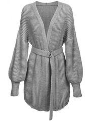 Amando Dámsky sveter s viazaním v páse 123ART, sivý