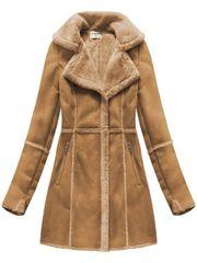 Amando Dámsky semišový kabát S-1802, hnedý