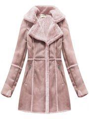 Amando Dámsky semišový kabát S-1802, ružový
