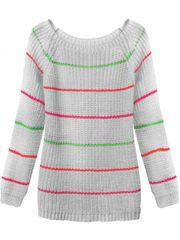 Amando Dámsky sveter s pruhmi 275ART, sivý