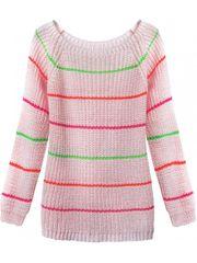 Amando Dámsky sveter s pruhmi 275ART, ružový