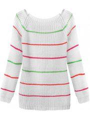 Amando Dámsky sveter s pruhmi 275ART, biely
