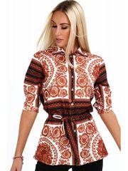 Amando Dámska košeľa so vzormi 20760, hnedá