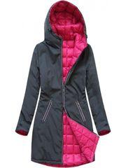 Amando Dámska obojstranná prechodná bunda 7700, tmavosivá/ružová