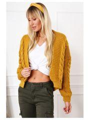 Amando Teplý sveter s vrkočovým vzorom 0352 horčicový
