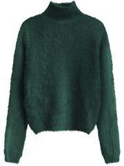 Amando Zelený dámsky krátky chlpatý sveter 466ART