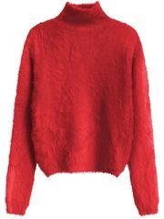 Amando Červený dámsky krátky chlpatý sveter 466ART