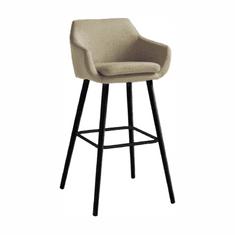 TEMPO KONDELA Barová stolička, béžová látka/čierna, TAHIRA
