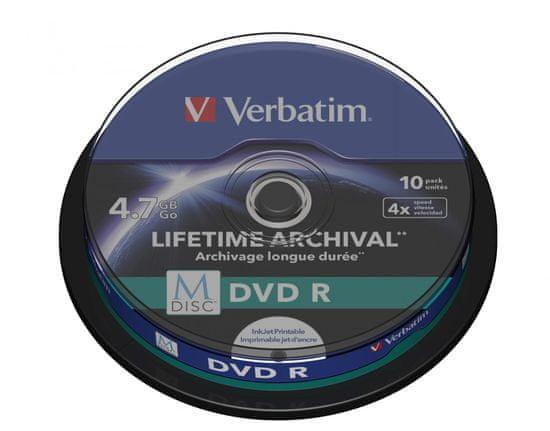 VERBATIM M-DISC BD-R 4,7GB, 4x, printable, spindle 10 ks (43824)