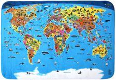 Království map Dětský koberec Mapa světa 180 x 130 cm