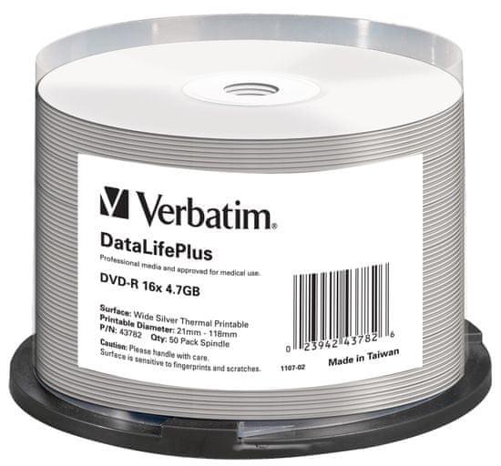 VERBATIM DVD-R DataLifePlus 4,7GB, 16x, silver thermal printable, spindle 50 ks (43782)