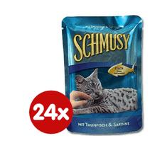 Schmusy hrana za mačke Nature Fish, tuna i sardine, 24 x 100 g
