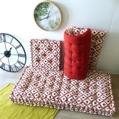 Cotton Wood potištěná podlahová matrace BOHO červená- 120 × 60 cm