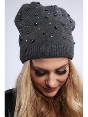Amando Tmavo sivá dámska čiapka s korálkami C17