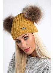 Amando Horčicová dámska čiapka s brmbolcami C5