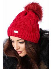 Amando Dámska čiapka s vrkočovým vzorom C52 červená